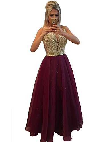 Chiffon Beaded Long Gown - 7