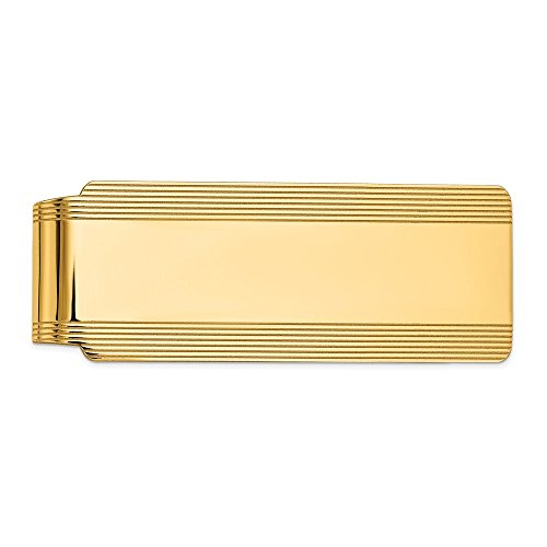 Yellow Gold Carved Money Clip - Men's 14k Yellow Gold Striped Edge Fold-Over Money Clip