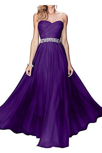 Festlichkleider Brautmutterkleider Dunkel mit Abendkleider mia Herzausschnitt Chiffon Lila Weiss Braut Damen Langes La Ha80qfRwq