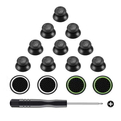 (Obeka 5 Pairs Replacement Analog Stick Joystick Thumbsticks with Thumb Grips and Screwdriver for Playstation DualShock 4 PS4 Controller)