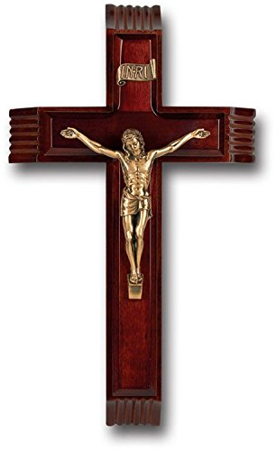(BERTOF DARK CHERRY Sick Call Crucifix Cross With Genuine Museum Gold Plated Corpurs With Candles & Holy Water Container 12