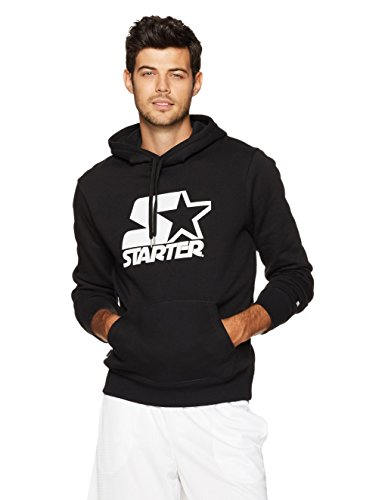 Starter Men's Pullover Logo Hoodie, Prime Exclusive, Black With White Logo, M from Starter
