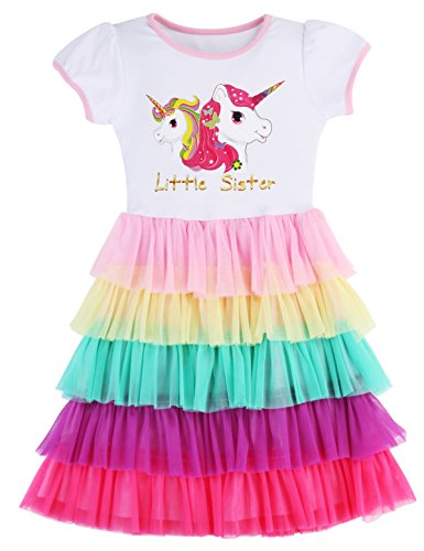 Clothes For Girls Size 3 Clothes Girls Dresses For Girls Clothes For Girls Clothes Size 4 Princess Dresses For Girls Little Girls Dresses Rainbow Dress For Girls Little Sister Unicorn Dress (Three Sisters Kids Clothes)