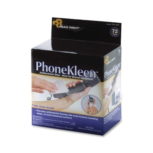 Phonekleen Wet Wipes Cloth (Read Right RR1303 PhoneKleen Wet Wipes Cloth 5 x 5 72/box by Read Right )
