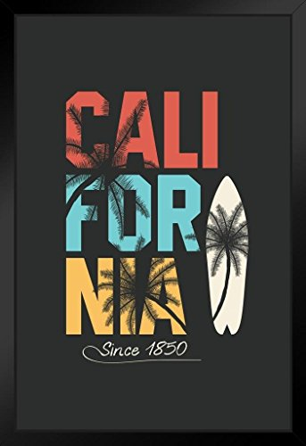 California Retro Travel Surfboard Palm Tree Art Print Framed Poster 14x20 inch