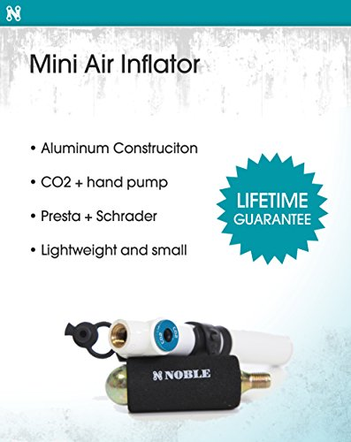 Portable Mini Air Inflator Pump with CO2 Pressure Valve for Bicycle Tire - Small Handheld Tool Fits both Dunlop and Presta Valves - Perfect Bike Accessory to Keep Tires Inflated and on the Road by Noble Cycling (Image #1)