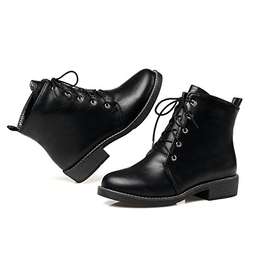AgeeMi Shoes Mujer Puntera Cerrada Cordones Mini Tacón PU Tacón Grueso Boots EuX79 Negro