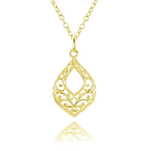 Open Filigree Heart - Yellow Gold Flashed Sterling Silver Open Teardrop Filigree Necklace