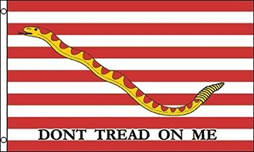 (First Navy Jack Flag 3x5 ft Don't Tread on Me Rattlesnake US Naval Ensign Ship House Banner Double Stitched Fade Resistant Premium Quality)