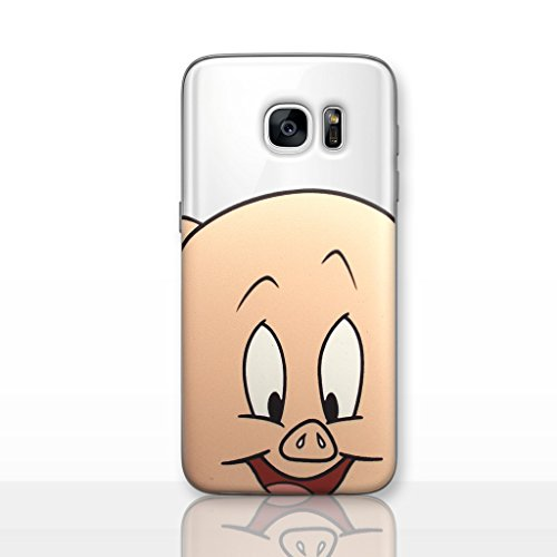 Galaxy S7 Looney Tunes Silicone Phone Case/Gel Cover for Samsung Galaxy S 7 (S7/G930) / Screen Protector & Cloth/iCHOOSE / Porky Pig