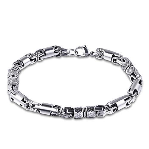 Potato001 Fashion Men Stainless Steel Bamboo Chain Clasp Bracelet Bangle Jewelry Decor - Silver (Bracelet Bamboo Bangle Silver)