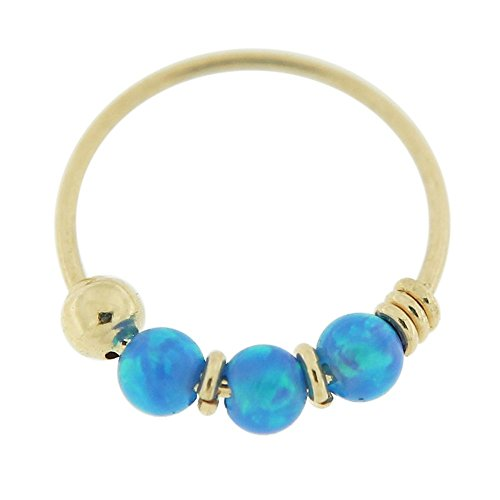 9KT Solid Yellow Gold Triple Blue Opal Stone 22 Gauge ( 0.6MM ) - 5/16 Inch ( 8MM ) Length Hoop Nose (Gold Triple Stone)