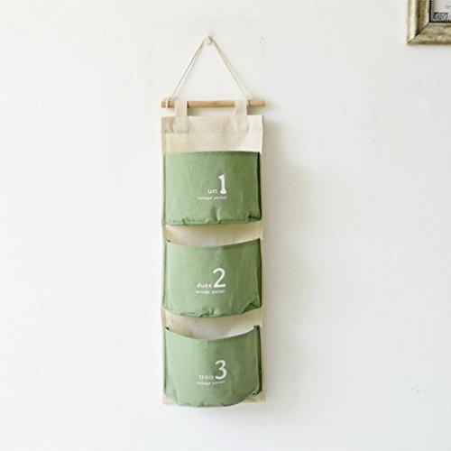 Transer Wall Mounted 3 Bags Storage Bag Over the Door Storage Pockets Wall Door Closet Hanging Storage Bag Organizer (Z-Green)