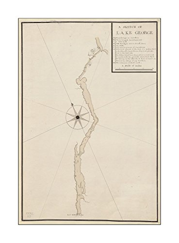 1756 Map A SKETCH OF LAKE GEORGE A manuscript note in ink on Map's verso reads
