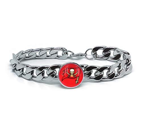(Devastating Designs Tampa Bay Buccaneers Men's Women's Silver Stainless Steel Link Chain Bracelet Football Gift)
