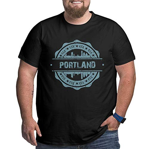Big Size Men's Portland Oregon Short Sleeve Cotton T-Shirts Costumes Tee Top Black -