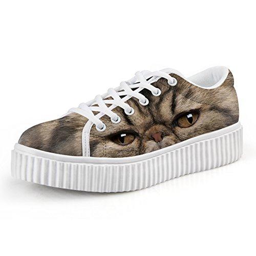 Cute Fashion U Platform Print Funny Cat DESIGNS up Top Women Sneaker FOR 6 Shoe Low Lace Skate ESpqfzqx