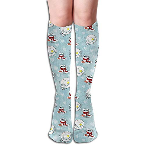 LSKDISH Cotton Crew Socks Cute Funny Sock Knee High Socks Love Seamless Pattern of Teacups and Heart Cookies DressSocks for Girl ()