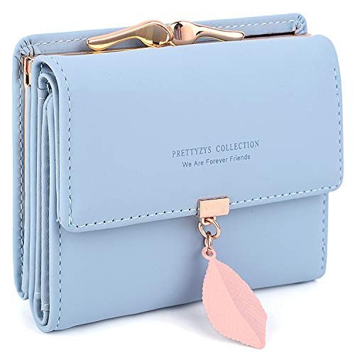 UTO Small Wallet for Women PU Leather Leaf Pendant Card Holder Organizer Coin Purse A Light Blue