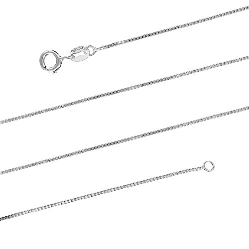 (Aloha Jewelry Company Sterling Silver 1mm Box Chain Necklace Solid Italian Nickle-Free, 14-36 Inch (24))