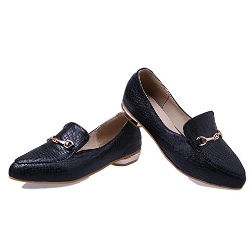 Loafers Low Point Shine Slide Shoes Show Heel Toe Women's Black Pumps nwa8AqUC