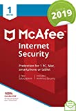 McAfee 2019 Internet Security, 1 Device, 1 Year, PC/Mac/Android/Smartphones [Download]