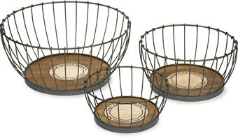 IMAX 84302-3 Benito Wood and Metal Baskets, Set of 3