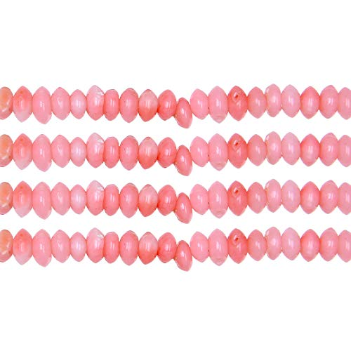 THETASTEJEWELRY 2x4mm Disk Pink Coral Beads Loose Beads 15