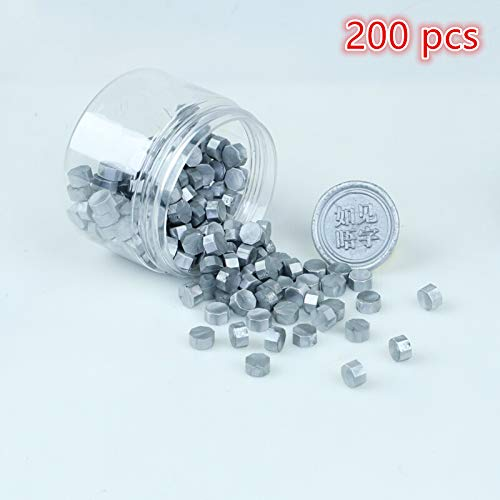 CDM product Crafts 200 pcs Octagonal Sealing Wax Beads, Ideal for Decorating Business Card envelopes, Wedding Invitations, Wine Packaging, Gift Ideas, documents, Seals (Silver) big image