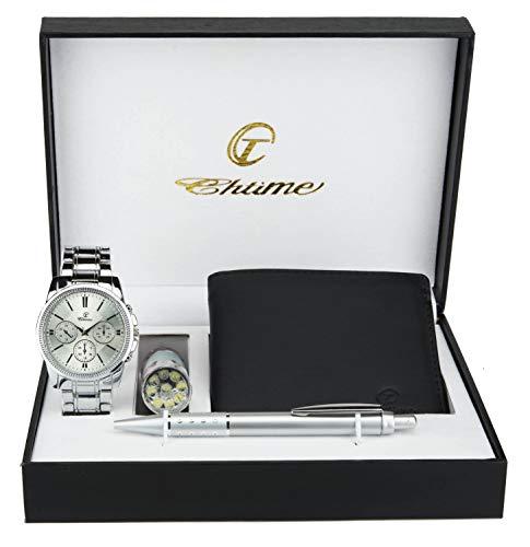 Gift Set Mens Watch Silver- LED Lamp LED - Wallet -Pen