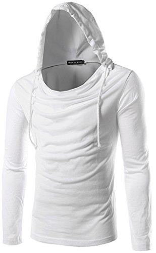 Whatlees Herren slim fit leicht Langarme Kapuzenpullover aus weicher Sweatstoff B093-White-XL