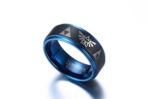 Tungsten Carbide Two-tone Blue Black Step Edge Legend of Zelda Triforce Ring Bands for Men Boy,size 7 by Mealguet Jewelry (Image #4)