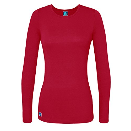 Adar Womens Comfort Long Sleeve T-Shirt Underscrub Tee - 2900 - Red - L