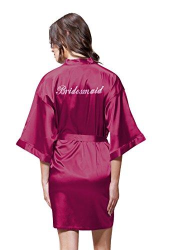 Turquaz Linen Satin Kimono Rhinestone Bridesmaid Robe (Small/Medium, Wine Red)