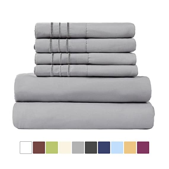 "EASELAND Queen Size 6-Pieces Bed Sheets Set 1800 Series Microfiber Wrinkle & Fade Resistant,Deep Pocket,Hypoallergenic Bedding Set,Queen,Grey - 【Feel The Difference】For EASELAND Full/Queen/King/Cal King/size bed sheet set,Compare to the 4-piece bed sheet set ,we have added two extra pillowcases.they will add good convenience when you want to regularly clean your old pillowcase or you want to prepare for the guest room .No worry of alternative pillowcase being not available again.These sheets are also breathable, cool and soft . 【Queen Size 6pc Bed Sheets Set】-1 flat sheet 90""x102"", 1 fitted sheet 60""x80"",and 4 pillowcases 20""x30"".Deep pocket fitted sheet with elastic all around . 【Easy To Care】Fade, stain, shrink and wrinkle resistant. Machine wash in cold. Dries quick on tumble dry low. No pilling or shedding. - sheet-sets, bedroom-sheets-comforters, bedroom - 41sQvoVliGL. SS570  -"