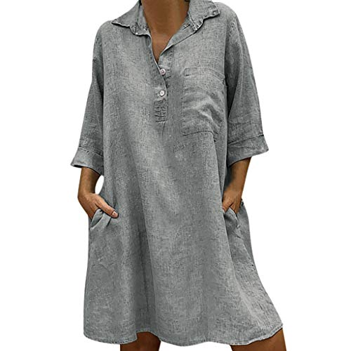 Londony New in Women's Dresses 3/4 Sleeve Turn-Down Collar Cotton Linen Solid Losoe Casual Dress Gray]()