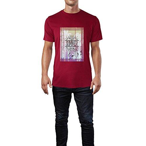 SINUS ART® Enjoy Summer Times Herren T-Shirts in Independence Rot Fun Shirt mit tollen Aufdruck