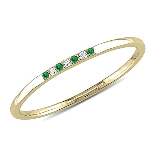 0.05 CT. Seven-Stone Round Natural Diamond & Green Emerald Wedding Band 10K Yellow Gold For (0.05 Ct Round Diamond)