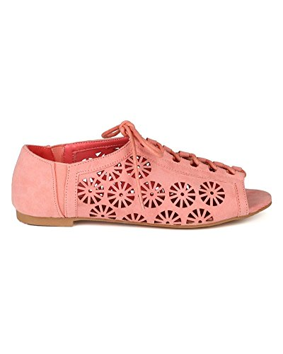 Qupid AG47-Palmer-118 Women Suede Cut Out Lace Up Flat - Salmon 8t9xF3GDbu