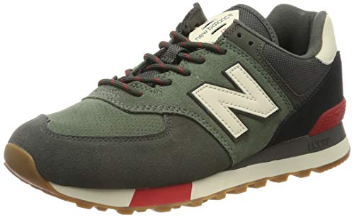 New Balance Men's Iconic 574 V2 Sneaker, CAMO Green/Team RED, 10 D US