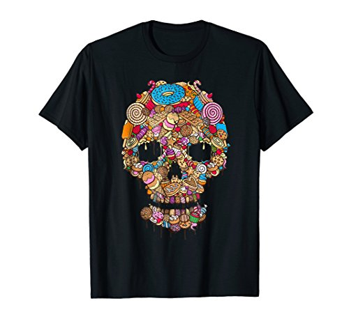 Halloween Skull Candy Costume T-Shirt Party Scary Skeleton