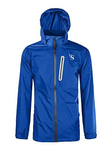 GEEK LIGHTING Rain Jacket for Men, Outdoor Zipper Waterproof Lightweight Raincoat Windbreaker with Hooded (Blue, Medium) (Mens Jacket Light)