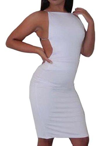 Jaycargogo Femmes Sexy À Fines Bretelles Couleur Pure Hanche Bas Paquet Dos Robes De Cocktail Clubwear Blanc