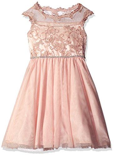 Rare Editions Big Girls' Embroidered Social Dress, Blush, 16