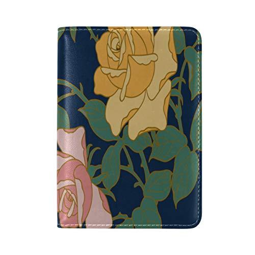 Passport Cover Case Ostrich Retro Flowers Green Leaves Leatherµfiber Multi Purpose Print Passport Holder Travel Wallet For Women And Men 5.51x3.94 ()
