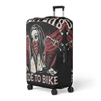 Semtomn Luggage Cover Forest Birch Trees Trunks Black and White Natural Winter Travel Suitcase Cover Protector Baggage Case Fits 18-22 Inch
