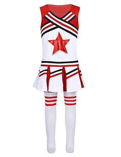 CHICTRY Girls Children Champion Cheer Leader Uniform Sequin Red Star School Dance Camp Cheerleading Cosplay Costumes Sleeveless Red&White 5-6
