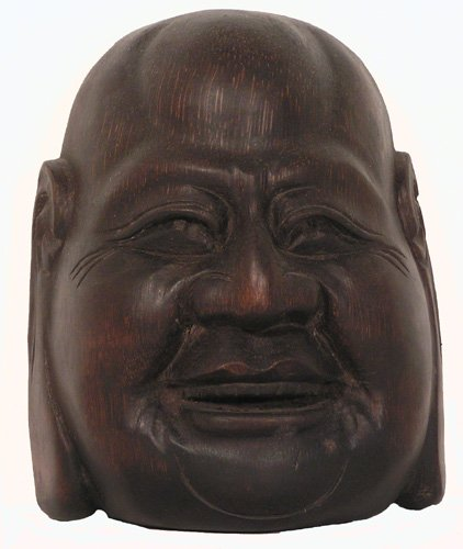 Wood Mask Laughing Buddha ()