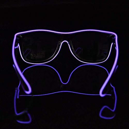 TGETH EL Glasses El Wire Fashion Neon LED Light Up Shutter Shaped Glow Sun Glasses Rave Costume Party DJ Bright Sunglasses (Purple) ()