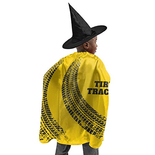 LFCLOSET Road Tire Track Halloween Kids Costume Wizard Witch Cape Hat Suit